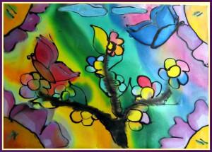 """Картината - подарък, която получихме, дело на малките художници от ОУ """"Стефан Караджа"""" - Варна"""